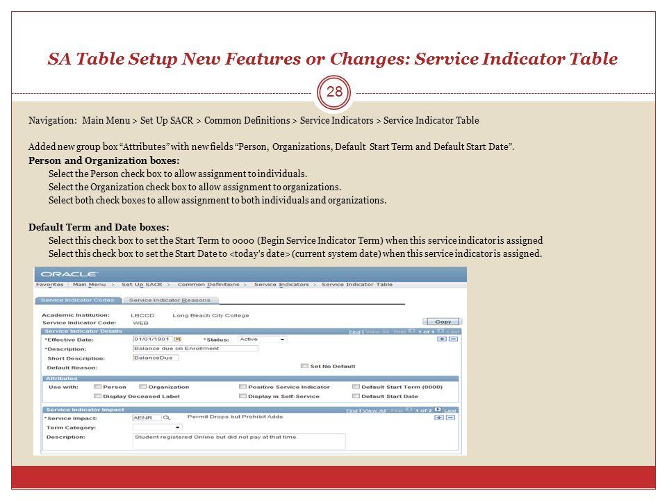 SA Table Setup New Features or Changes: Service Indicator Table Navigation: Main Menu > Set Up SACR > Common Definitions > Service Indicators > Servic