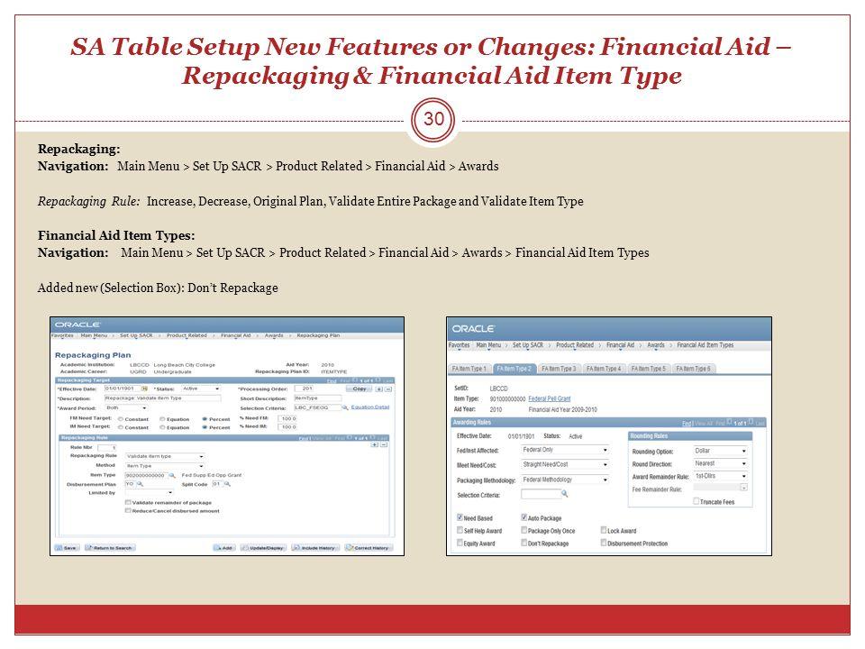 SA Table Setup New Features or Changes: Financial Aid – Repackaging & Financial Aid Item Type Repackaging: Navigation: Main Menu > Set Up SACR > Produ