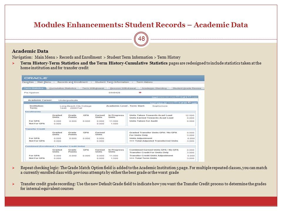 Modules Enhancements: Student Records – Academic Data Academic Data Navigation: Main Menu > Records and Enrollment > Student Term Information > Term H