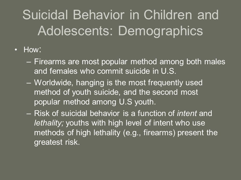 Suicidal Behavior in Children and Adolescents: Demographics How : –Firearms are most popular method among both males and females who commit suicide in U.S.