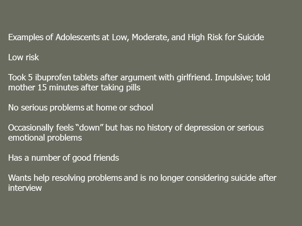 Examples of Adolescents at Low, Moderate, and High Risk for Suicide Low risk Took 5 ibuprofen tablets after argument with girlfriend.