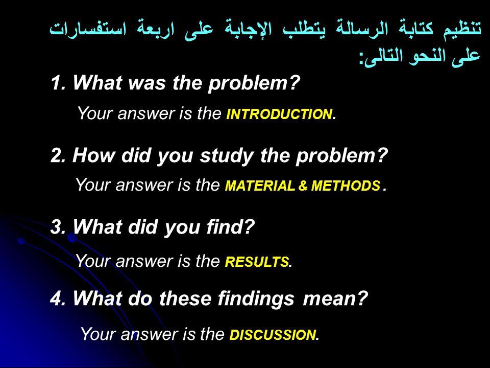 تنظيم كتابة الرسالة يتطلب الإجابة على اربعة استفسارات على النحو التالى: 1.