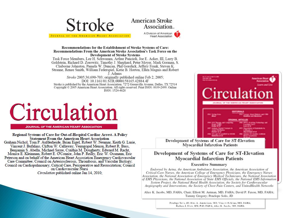  National momentum ◦ American Heart Association/American Stroke Association ◦ American College of Cardiology ◦ Centers for Disease Control - CARES ◦ Society for Chest Pain Centers ◦ CMS  Examples ◦ North Carolina RACE ◦ Los Angeles ◦ Minnesota Cardiac Level 1 ◦ Spokane and North Puget Sound Cardiac Level 1 ◦ Cascade HeartRescue