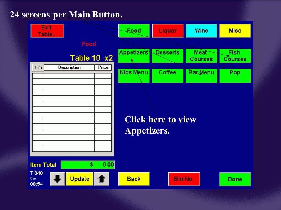 24 screens per Main Button. Click here to view Appetizers.