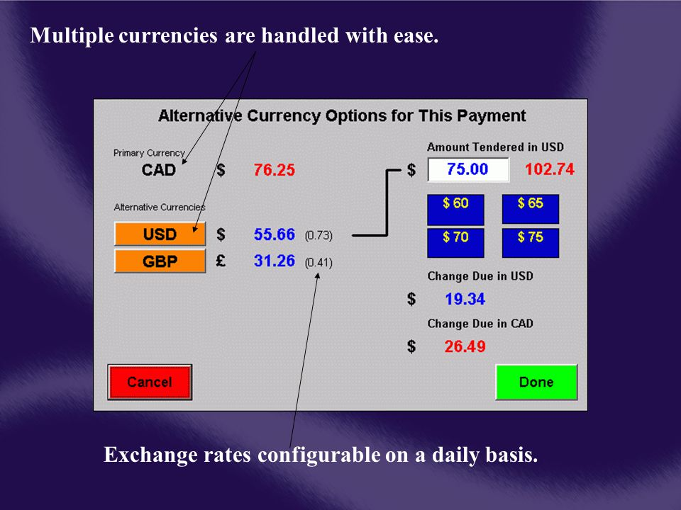 Multiple currencies are handled with ease. Exchange rates configurable on a daily basis.