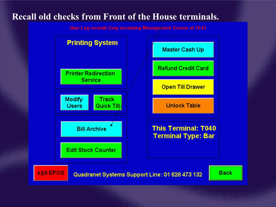 Recall old checks from Front of the House terminals.