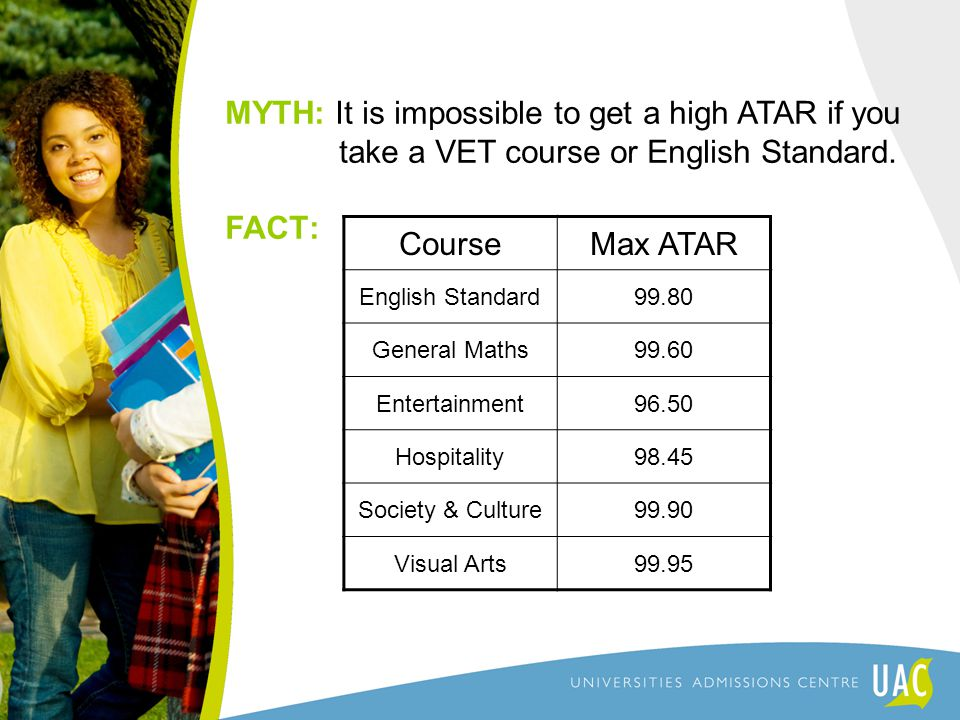 MYTH: It is impossible to get a high ATAR if you take a VET course or English Standard.