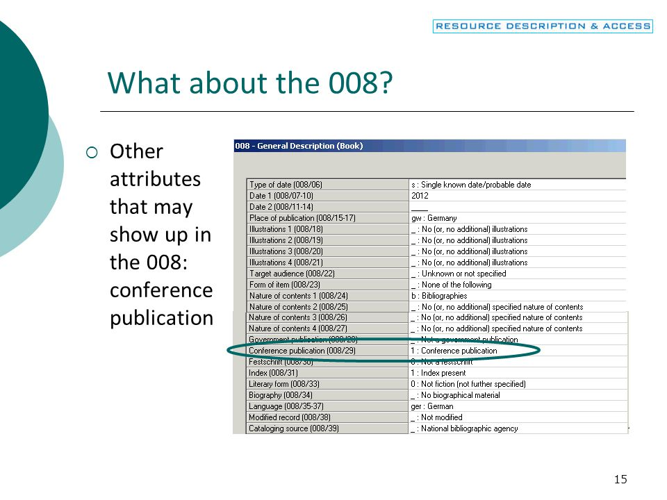 16 What about the 008?  Other attributes that may show up in the 008: Festschrift