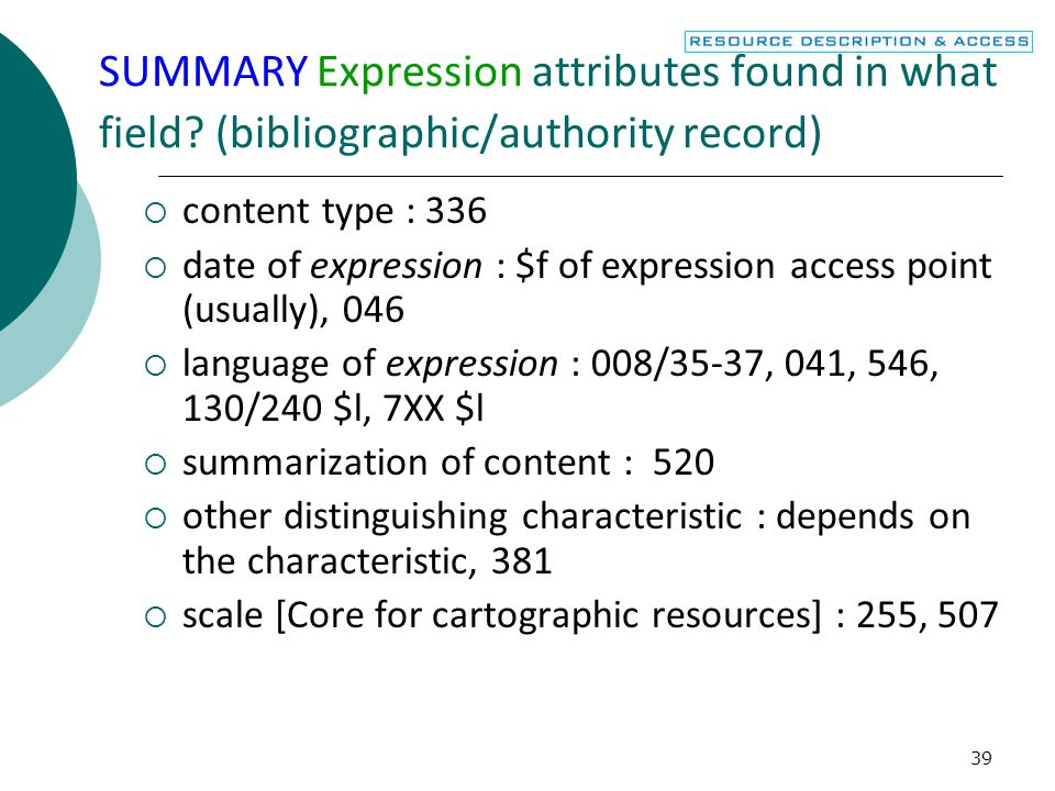40 SUMMARY Manifestation attributes found in what bibliographic record field.