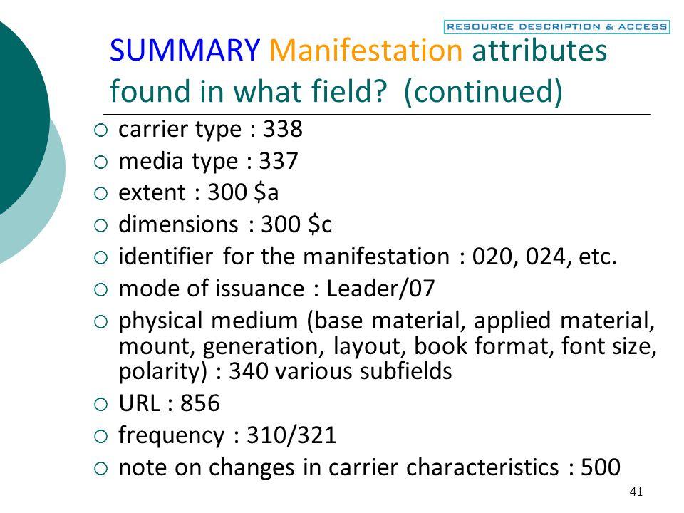 42 SUMMARY Manifestation attributes found in what field.