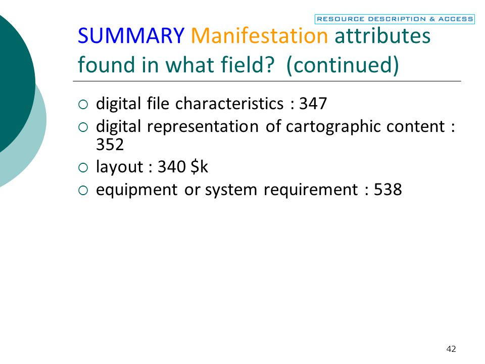 43 SUMMARY Item attributes found in what bibliographic record or item record field.