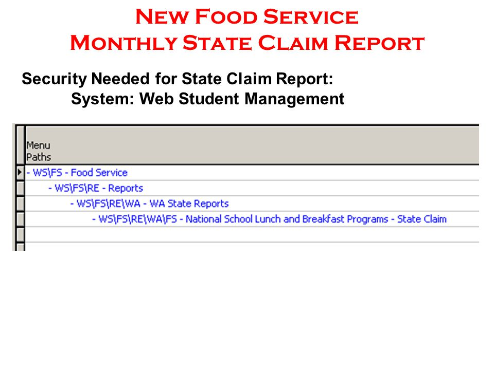 New Food Service Monthly State Claim Report Security Needed for State Claim Report: System: Web Student Management
