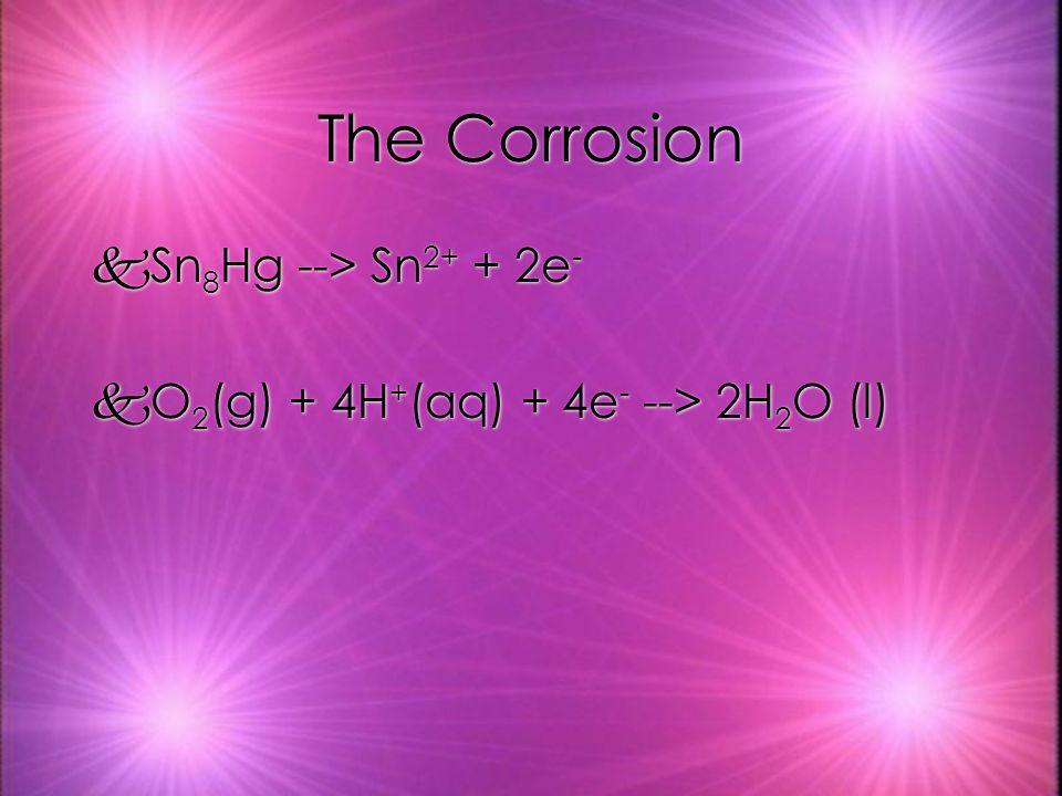 The Corrosion kSn 8 Hg --> Sn 2+ + 2e - kO 2 (g) + 4H + (aq) + 4e - --> 2H 2 O (l) kSn 8 Hg --> Sn 2+ + 2e - kO 2 (g) + 4H + (aq) + 4e - --> 2H 2 O (l)