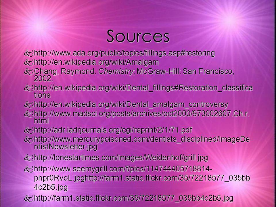 Sources khttp://www.ada.org/public/topics/fillings.asp#restoring khttp://en.wikipedia.org/wiki/Amalgam kChang, Raymond.