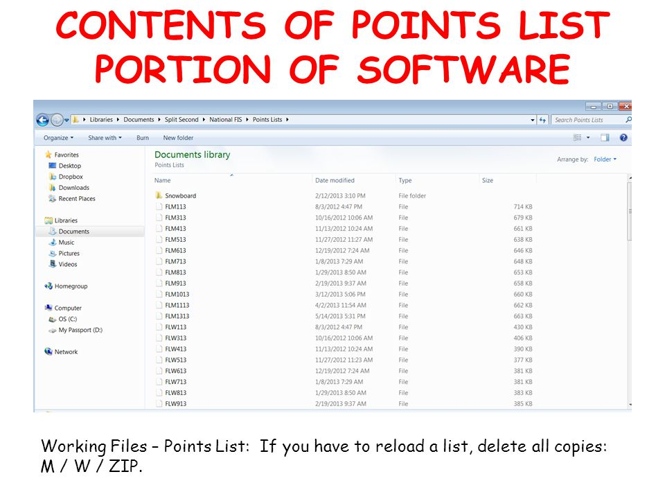 CONTENTS OF POINTS LIST PORTION OF SOFTWARE Working Files – Points List: If you have to reload a list, delete all copies: M / W / ZIP.