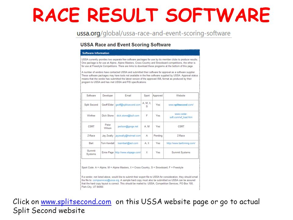 RACE RESULT SOFTWARE Click on www.splitsecond.com on this USSA website page or go to actual Split Second websitewww.splitsecond.com