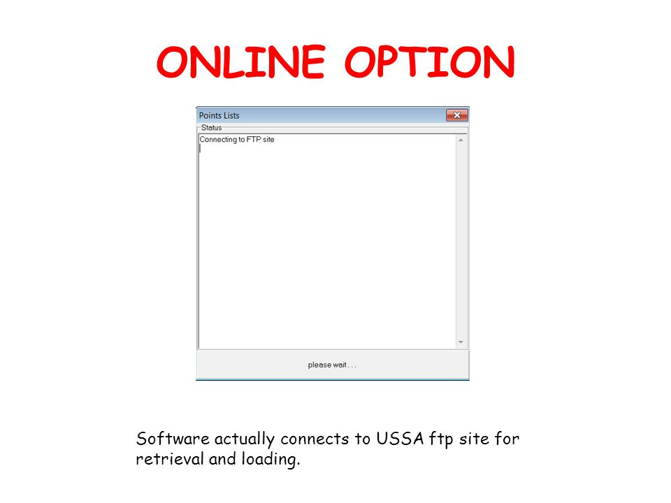 ONLINE OPTION Software actually connects to USSA ftp site for retrieval and loading.