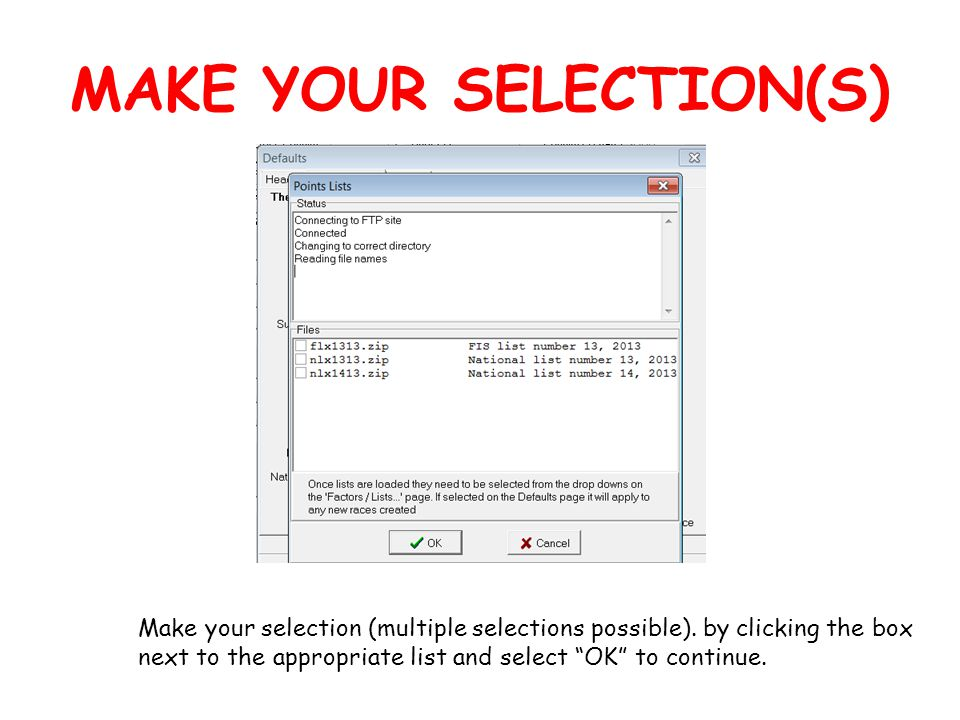 MAKE YOUR SELECTION(S) Make your selection (multiple selections possible).