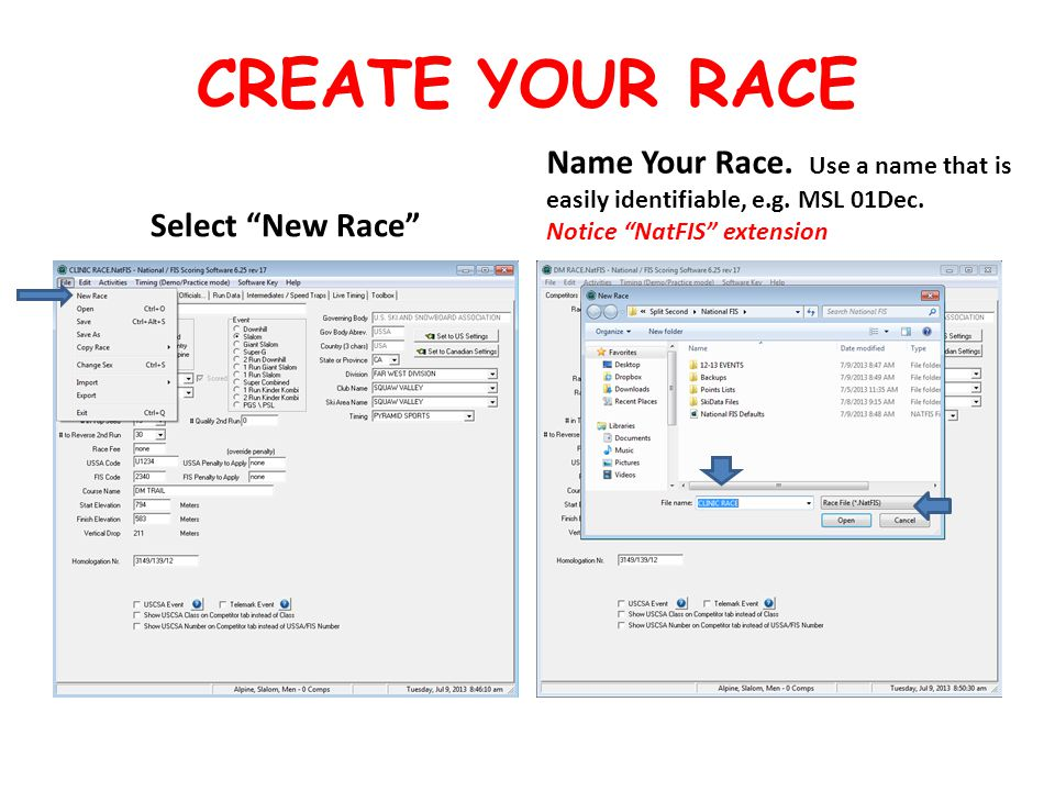 CREATE YOUR RACE Select New Race Name Your Race.