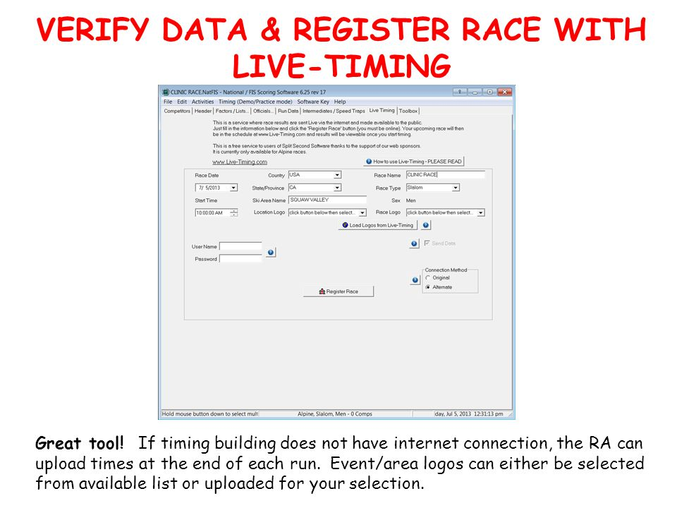 VERIFY DATA & REGISTER RACE WITH LIVE-TIMING Great tool.