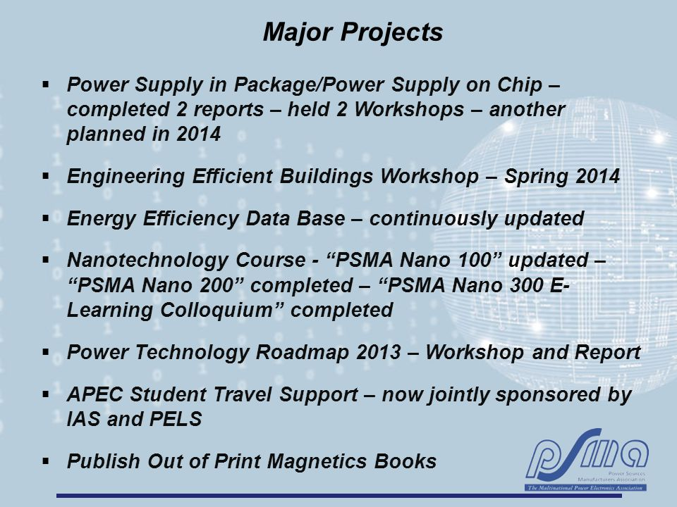 Major Projects  Power Supply in Package/Power Supply on Chip – completed 2 reports – held 2 Workshops – another planned in 2014  Engineering Efficient Buildings Workshop – Spring 2014  Energy Efficiency Data Base – continuously updated  Nanotechnology Course - PSMA Nano 100 updated – PSMA Nano 200 completed – PSMA Nano 300 E- Learning Colloquium completed  Power Technology Roadmap 2013 – Workshop and Report  APEC Student Travel Support – now jointly sponsored by IAS and PELS  Publish Out of Print Magnetics Books