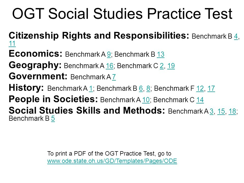 OGT Social Studies Practice Test Citizenship Rights and Responsibilities: Benchmark B 4, 114 11 Economics: Benchmark A 9; Benchmark B 13913 Geography: