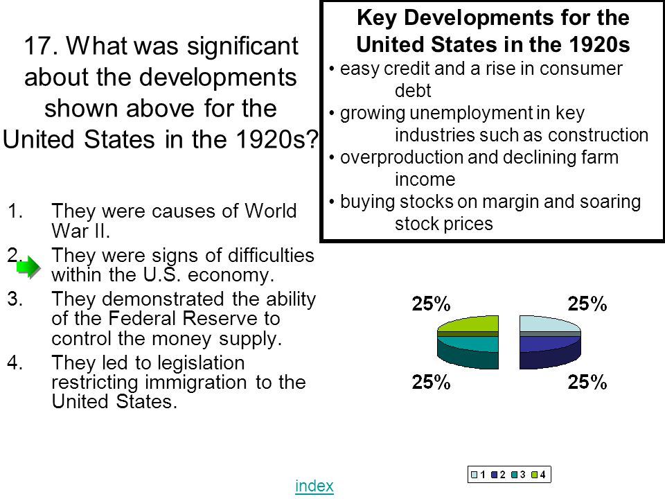 17. What was significant about the developments shown above for the United States in the 1920s? Key Developments for the United States in the 1920s ea