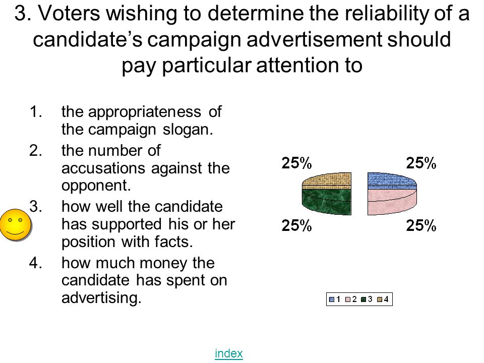 3. Voters wishing to determine the reliability of a candidate's campaign advertisement should pay particular attention to 1.the appropriateness of the