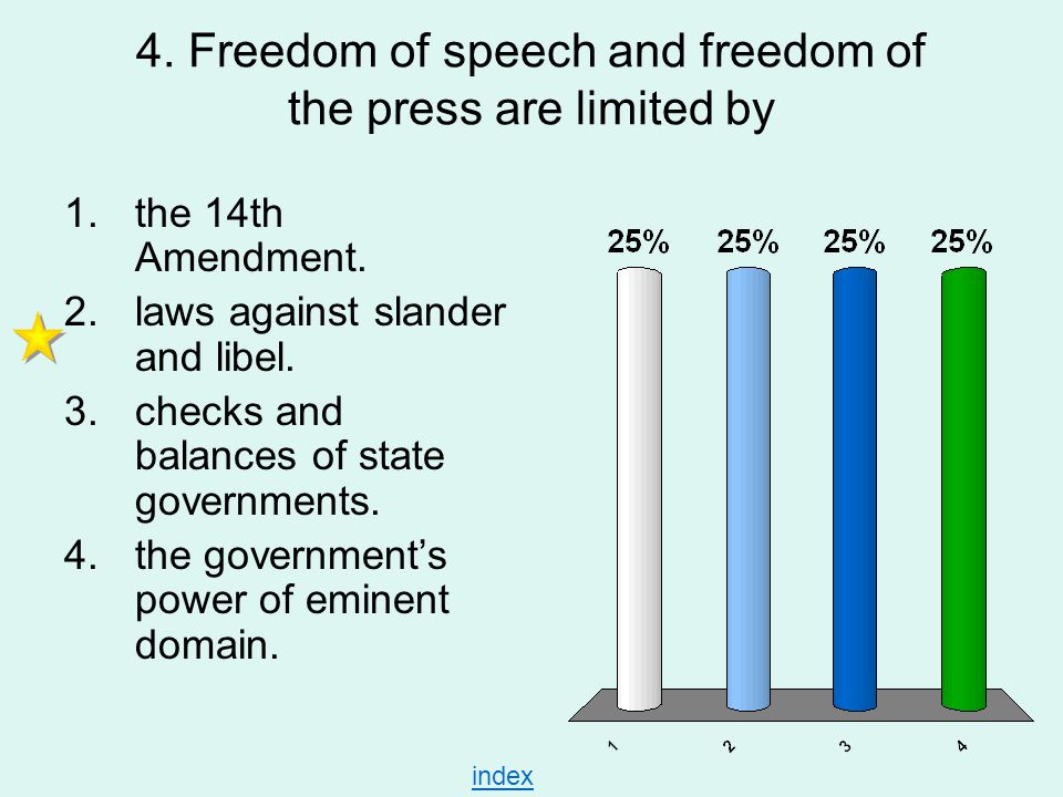 4. Freedom of speech and freedom of the press are limited by 1.the 14th Amendment. 2.laws against slander and libel. 3.checks and balances of state go