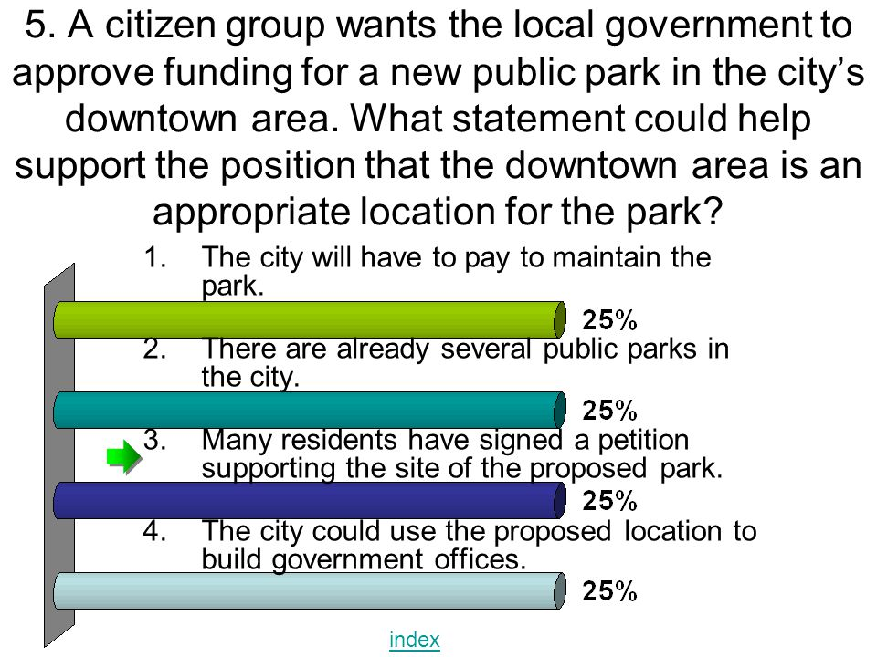 5. A citizen group wants the local government to approve funding for a new public park in the city's downtown area. What statement could help support