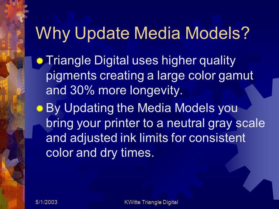 5/1/2003KWitte Triangle Digital Why Update Media Models.