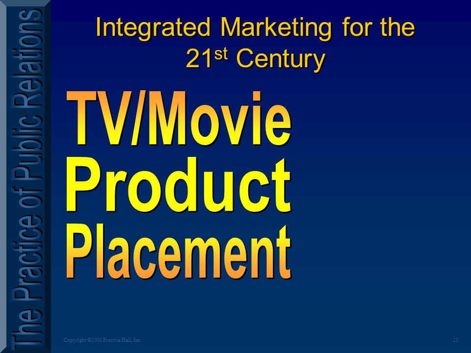 23Copyright ©2001 Prentice Hall, Inc. Integrated Marketing for the 21 st Century Integrated Marketing for the 21 st Century