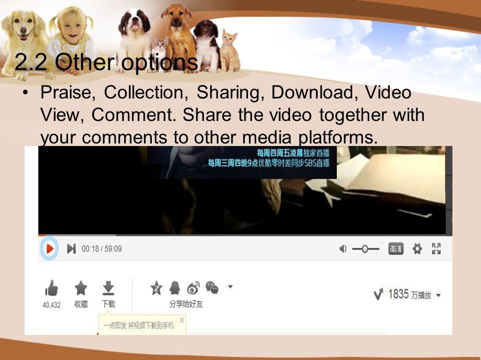 2.2 Other options Praise, Collection, Sharing, Download, Video View, Comment.