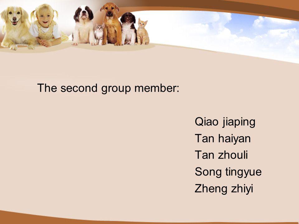The second group member: Qiao jiaping Tan haiyan Tan zhouli Song tingyue Zheng zhiyi