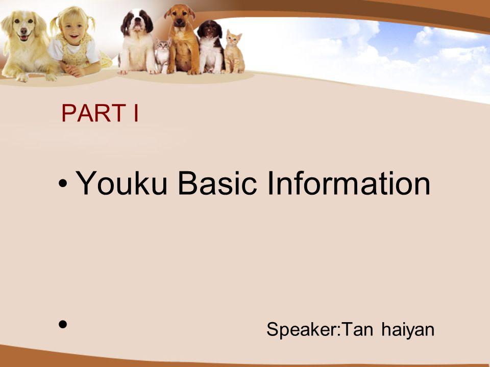 PART I Youku Basic Information Speaker:Tan haiyan