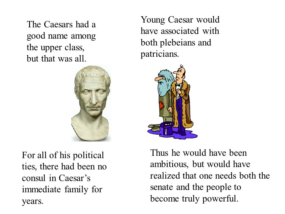 For all of his political ties, there had been no consul in Caesar's immediate family for years.