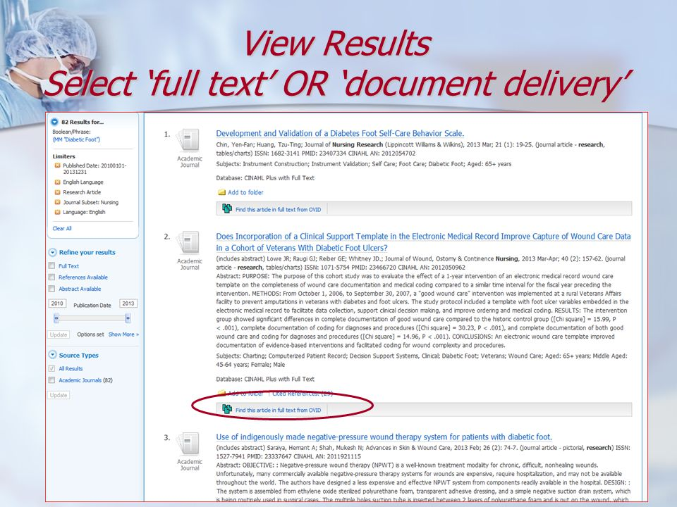 View Results Select 'full text' OR 'document delivery'