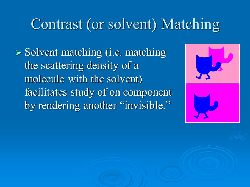 Contrast (or solvent) Matching  Solvent matching (i.e.