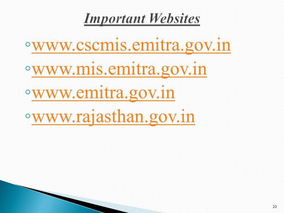 ◦ www.cscmis.emitra.gov.in www.cscmis.emitra.gov.in ◦ www.mis.emitra.gov.in www.mis.emitra.gov.in ◦ www.emitra.gov.in www.emitra.gov.in ◦ www.rajasthan.gov.in www.rajasthan.gov.in 20