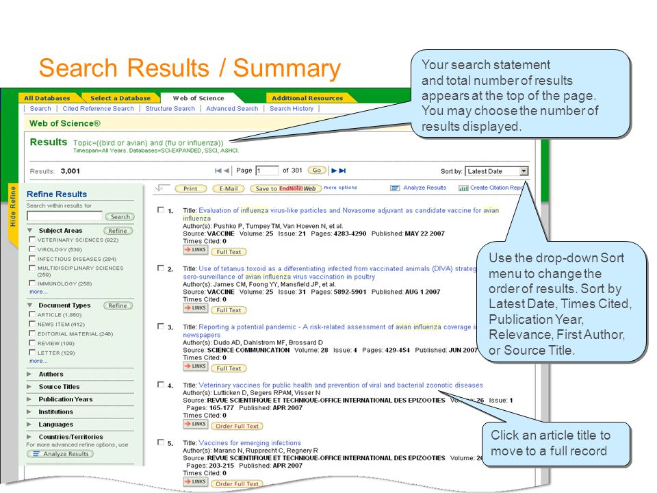 Search Results / Summary Use the drop-down Sort menu to change the order of results. Sort by Latest Date, Times Cited, Publication Year, Relevance, Fi