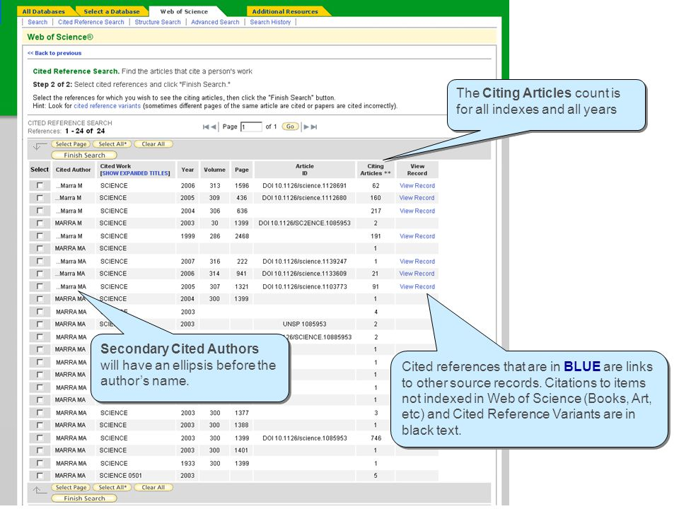 Cited Reference Look-up table Cited references that are in BLUE are links to other source records.