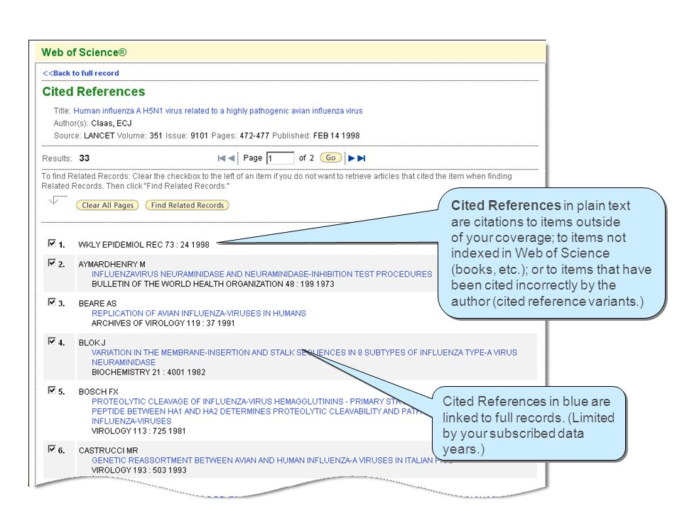 Cited References Cited References in blue are linked to full records. (Limited by your subscribed data years.) Cited References in plain text are cita