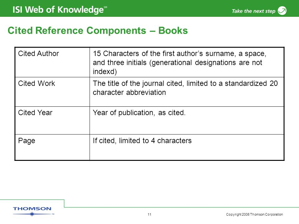 Copyright 2006 Thomson Corporation 11 Cited Reference Components – Books Cited Author15 Characters of the first author's surname, a space, and three initials (generational designations are not indexd) Cited WorkThe title of the journal cited, limited to a standardized 20 character abbreviation Cited YearYear of publication, as cited.