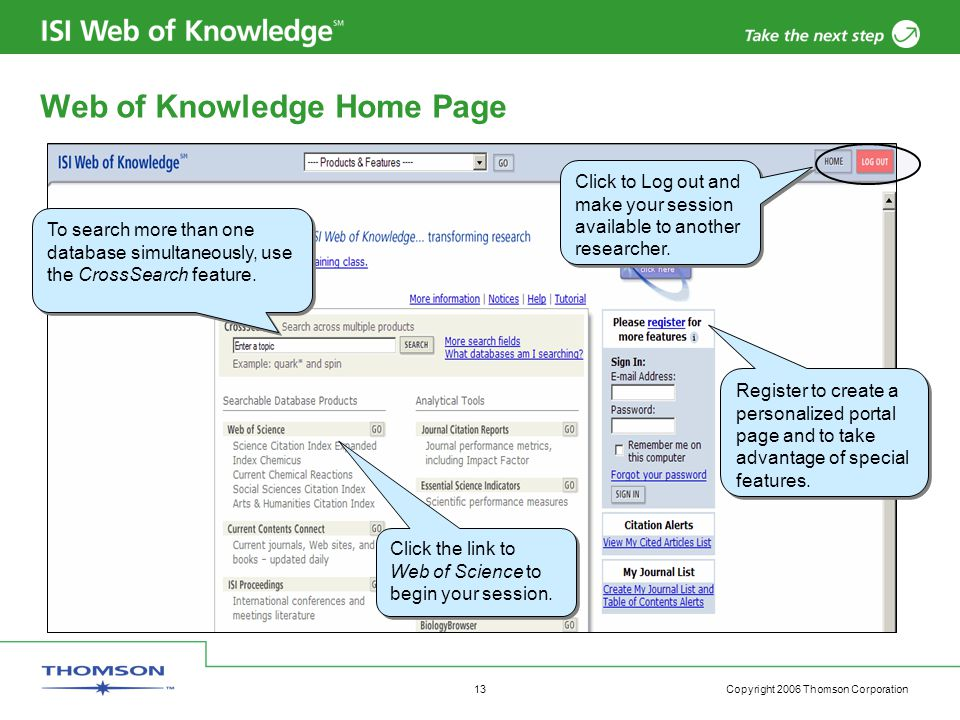 Copyright 2006 Thomson Corporation 13 Web of Knowledge Home Page Click to Log out and make your session available to another researcher.