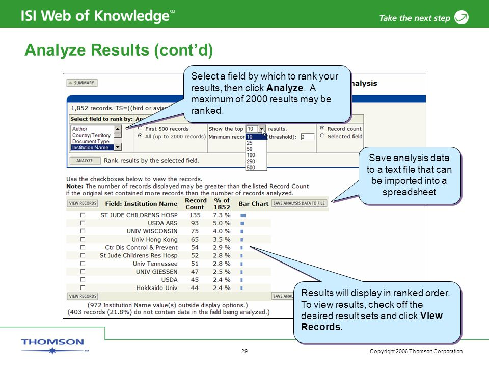 Copyright 2006 Thomson Corporation 29 Analyze Results (cont'd) Select a field by which to rank your results, then click Analyze.