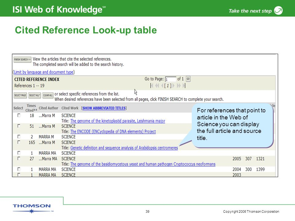 Copyright 2006 Thomson Corporation 39 Cited Reference Look-up table For references that point to article in the Web of Science you can display the full article and source title.