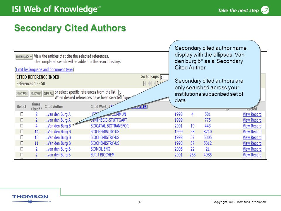Copyright 2006 Thomson Corporation 45 Secondary Cited Authors Secondary cited author name display with the ellipses.