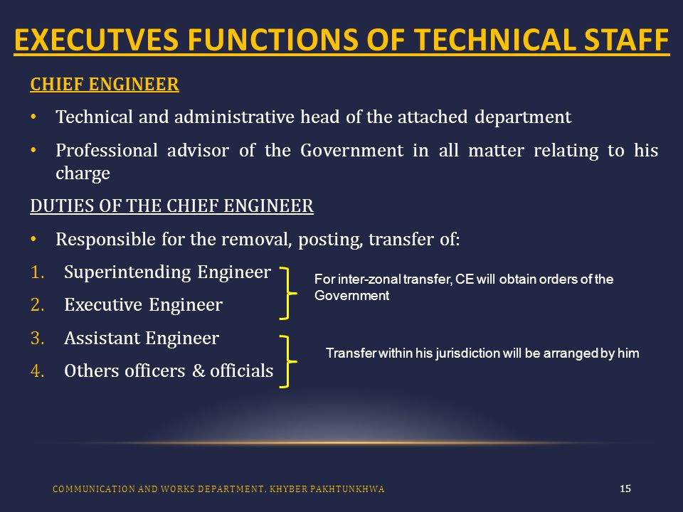 EXECUTVES FUNCTIONS OF TECHNICAL STAFF 15 CHIEF ENGINEER Technical and administrative head of the attached department Professional advisor of the Government in all matter relating to his charge DUTIES OF THE CHIEF ENGINEER Responsible for the removal, posting, transfer of: 1.Superintending Engineer 2.Executive Engineer 3.Assistant Engineer 4.Others officers & officials COMMUNICATION AND WORKS DEPARTMENT, KHYBER PAKHTUNKHWA For inter-zonal transfer, CE will obtain orders of the Government Transfer within his jurisdiction will be arranged by him