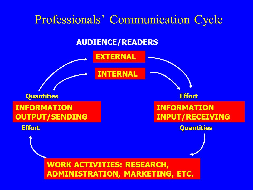Professionals' Communication Cycle INFORMATION OUTPUT/SENDING AUDIENCE/READERS EXTERNAL INTERNAL Quantities WORK ACTIVITIES: RESEARCH, ADMINISTRATION,