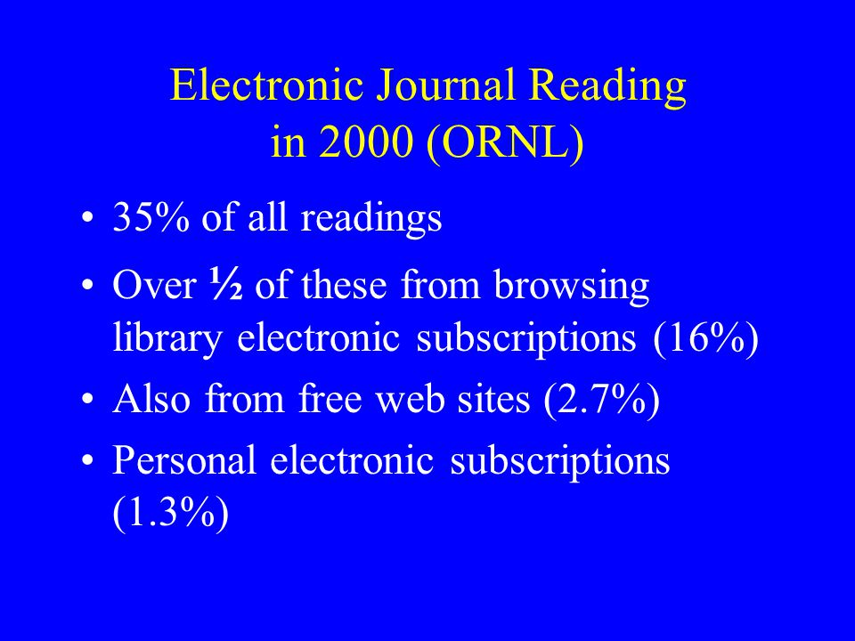 Electronic Journal Reading in 2000 (ORNL) 35% of all readings Over ½ of these from browsing library electronic subscriptions (16%) Also from free web
